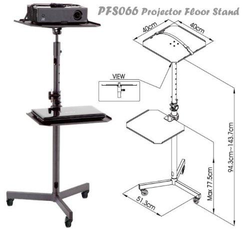 PFS 066 Proyector carro de soporte de suelo, altura ajustable con bandeja extraíble para el ordenador portátil, reproductor de DVD, Blu-ray