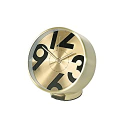 Time Concept Round Number Bedside Alarm Clock - Gold - Metal Steel Frame, 1 x AA Battery Operated