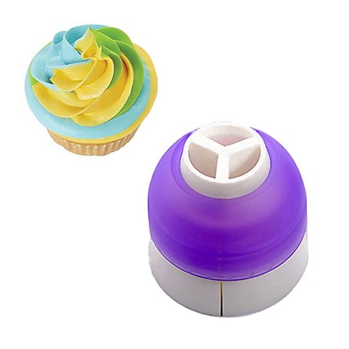 Piping Bags 1pc Icing Piping Bag Nozzle Converter 3Hole Tri-Color Cream Coupler Cake Decor Tool For Cupcake Fondant Cookie Decorative Supply