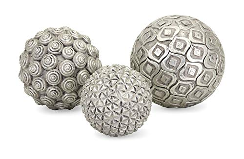 Decorative Balls Glass (Imax Nahara Silver Balls - Set of Three)