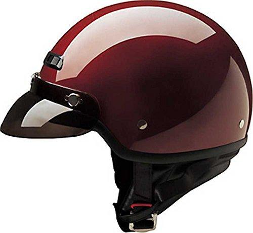 HCI Classic Gloss Wine Red Half Helmet w/Visor - Fiberglass Shell 40-430 (XL) ()