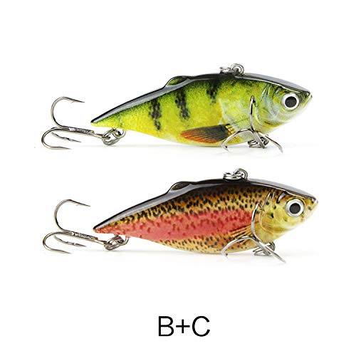 Torn Heaven Boxed 2Pcs Hard Fishing Lures Set 63Mm 8.5G Artificial Hard Pike Fish Bionic Fishing Lure Tackle,Bc Green Red