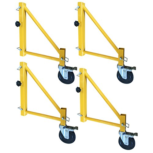 Pro Scaffolding Set - Pro-Series 18 inch Scaffolding Outriggers with Casters - 4 Piece Set