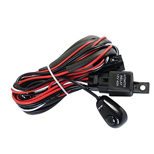 Universal Car Fog Light Switch Wiring Harness Kit Loom For LED Work Driving Light Strip With Fuse And Relay Switch 12V/40A: