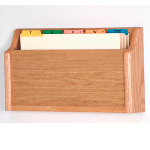 DMD Patient File Holder, Wall Mount Single Pocket Square Bottom Legal Size, Light Oak Wood Finish