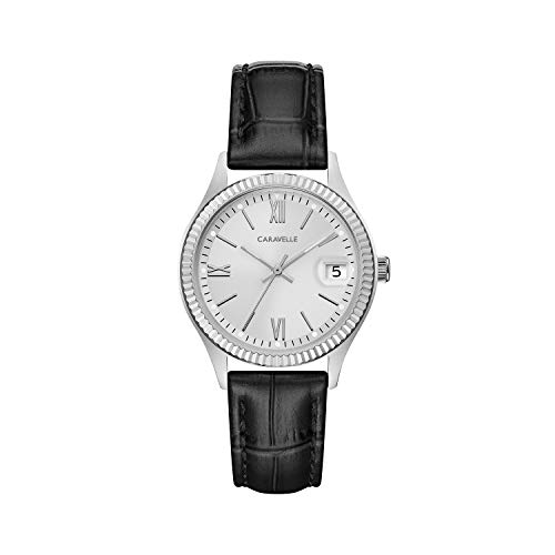 Caravelle Womens Strap - Caravelle Women's Quartz Stainless Steel and Leather Dress Watch, Color:Black (Model: 43M116)