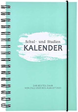 Linkbro Schulplaner 2020 2021, Schülerkalender von Juli 2020 bis August 2021, A5 Wochenkalender für Schuler mit Festem Einband Gummiband (156 Seiten)