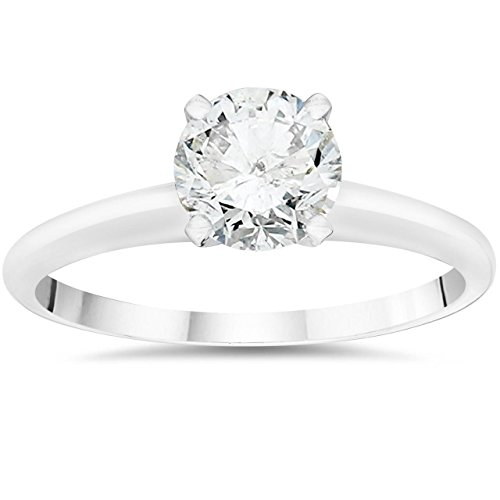 1 ct Diamond Solitaire Engagement Ring IGI Certified 14K White Gold SZ 5.5 (I2) - Size 5.5