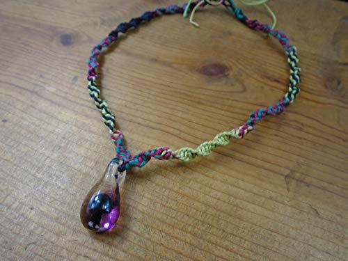 BEACH HEMP JEWELRY Black Glass Mushroom Hemp Choker Necklace Handmade In USA - Necklace Hemp Black