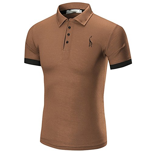 Birdfly Men Polo Dress Shirts Comfortably Collared Men's Perfect Slim Fit Casual Tops Plus Size 2L (XL, Brown) from Birdfly