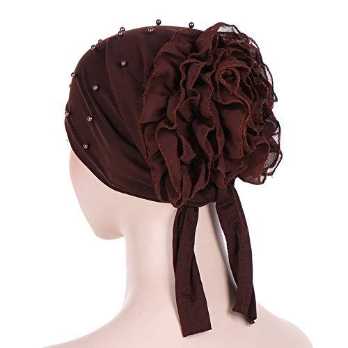 Knitted Beanie Coffee Hat Wrap 2019Womens HatWomen Wool Turban Cancer Cap Winter Beading Chemo India Muslim Ruffle Floral ywvmPO8nN0