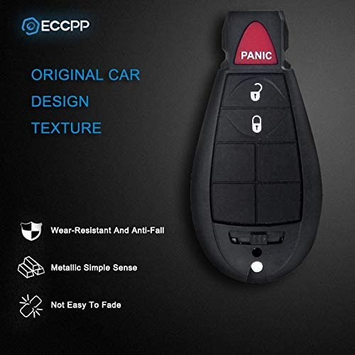 ECCPP Replacement fit for 2X 3 Button Uncut Keyless Entry Remote Key Fob 08 09 10 11 12 13 14 15 dodge journey key fob Chrysler Dodge Volkswagen M3N5WY783X 433MHz