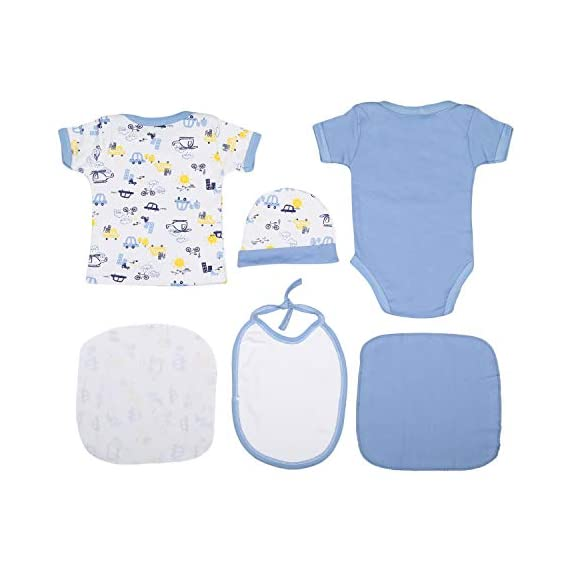 VParents Honey Punch New Born Baby Gift Set (Blue, Pack of 6)
