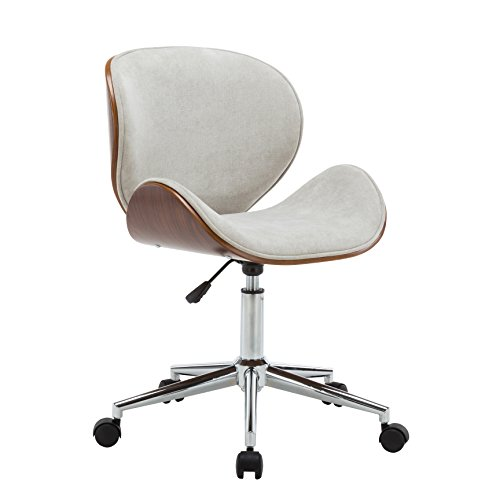 Porthos Home TFC034B CRM Branson Mid-century Style Office Chairs With Fabric Upholstery, Adjustable Height, 360° Swivel And Stainless Steel Legs Cream