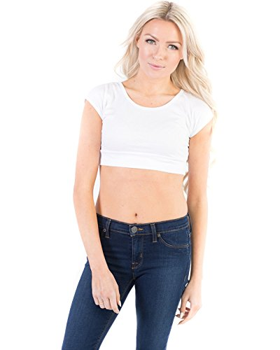 (Halftee Modal Basic Crop Top - Modest - Comfortable Layering Top White)
