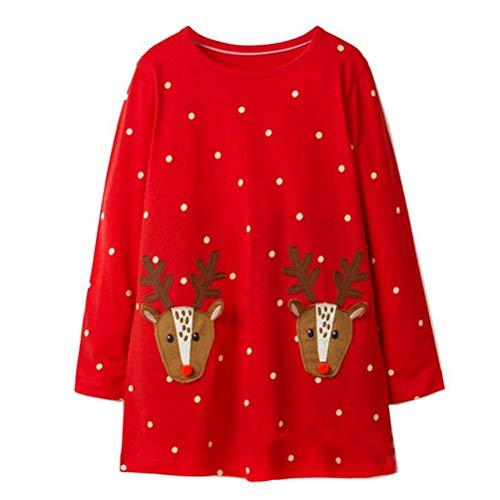 Cute Toddler Girl Long Sleeve Cotton Dresses White Dot Christmas Elk Tops -
