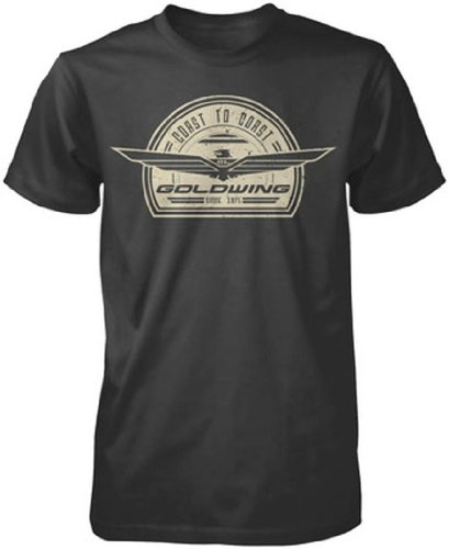 Honda Mens Goldwing Retro Short-Sleeve T-Shirt, Black, (Honda Goldwing T-shirts)