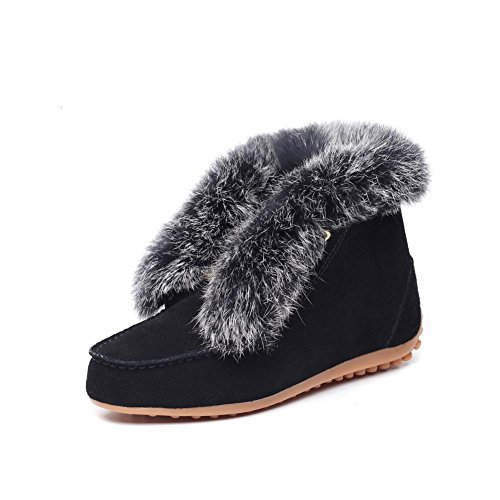 Waterproof Leather Black MILANAO Women's Boots Snow Plush Z0awaBq