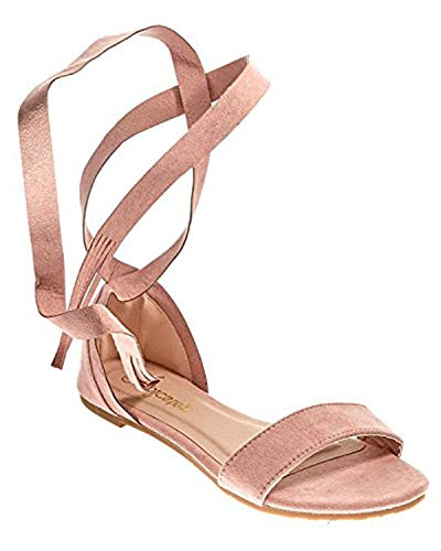 Emma Shoes Open Toe Tie Up, Ankle Wrap Flat Sandals for Women (8, Mauve) ()