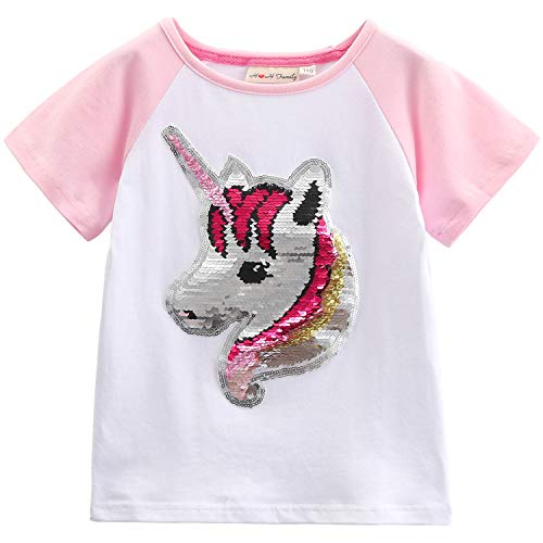 Flip Sequin Unicorn Shirt Top for Girls 3-12 Years (5, Fairy -