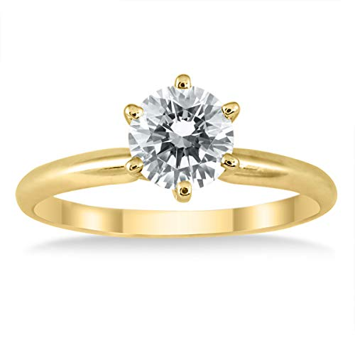 AGS Certified 1 Carat Diamond Solitaire Ring in 14K Yellow Gold (J-K Color, I2-I3 Clarity) (1 Carat Solitaire Diamond Ring Yellow Gold)
