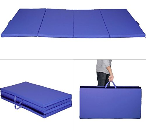 K&A Company Mat Folding Panel Gymnastics Exercise Gym Yoga Fitness Tumbling Pad New Blue 4′ x 8′ x 2″