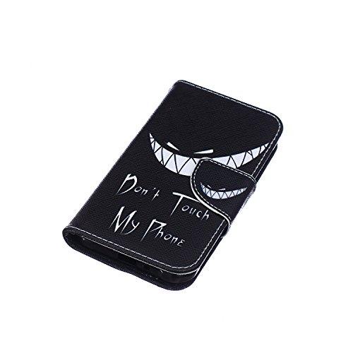 Funda Samsung J1 Ace, Samsung Galaxy J1 Ace Carcasa Funda Cuero [Pluma Libre] Samsung Galaxy J1 Ace Case Book Estilo Libro billetera con correa de cordón Magnético Folio Flip Caso pata de cabra titula Mueca