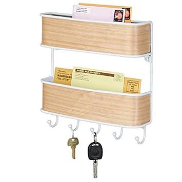 mDesign – Organizador de llaves con ganchos – Colgador de llaves de pared fabricado en metal resistente – Organizador de cartas con dos bandejas con ...