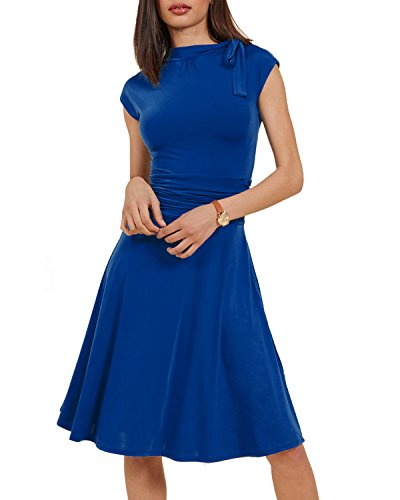 Tempt me Women's Vintage 50s Bowknot Bridget Bombshell Dress A-Line Swing Cocktail Dress Blue Medium
