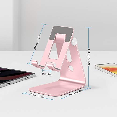 """OMOTON C3 Cell Phone Stand for Desk, Larger and Exceptionally Stable, Adjustable Phone Cradle Holder with Bigger Body & Longer Arm, Compatible with iPhone, Tablets (7-10"""") and More,Rose Gold"""