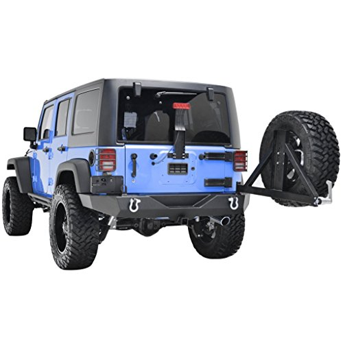 Restyling Factory Jeep Wrangler JK Full Width Rear Bumper with Tire Carrier and Hitch Receiver