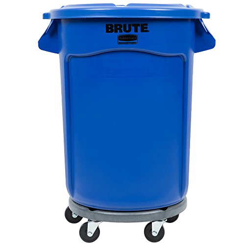 TableTop King BRUTE 32 Gallon Blue Trash Can with Lid and Dolly by TableTop King