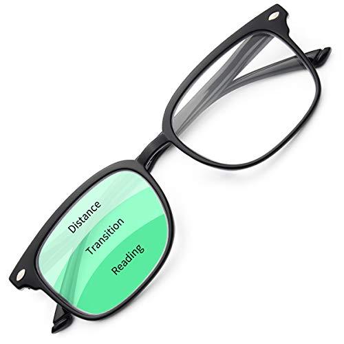 Gaoye Progressive Multifocal Reading Glasses Blue Light Blocking for Women Men,No Line Multifocus Readers with Spring Hinge (Light Black, 150)