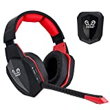 2.4G USB Optical Wireless Gaming Headset for PS4 and PC, Soft Leather Earmuffs and Rechargeable Battery (Not for Xbox One)