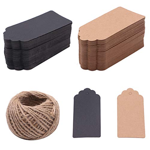 200 PCS Kraft Paper Gift Tags Wedding Favor Tags 10 cm x 5 cm with 100 Feet Jute Twine - 2 Colors 2' Rectangle Paper Label
