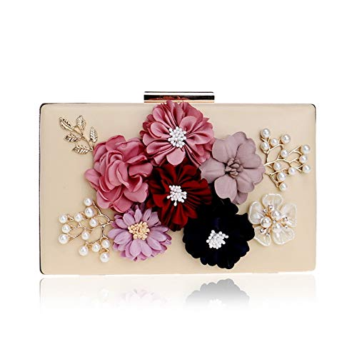Ladies Gold Fashion Clutch Bag New Flower Evening Evening Bag GROSSARTIG Dress Banquet RYqPg4n