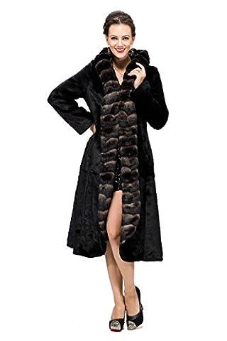 Adelaqueen Women's Sheared Mink Faux Fur Coat Hooded With Faux Chinchilla Trim Size XS