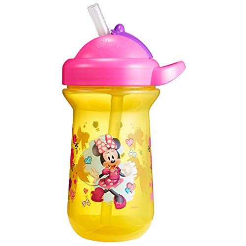 The First Years Baby Minnie Mouse Flip Top Straw Cup, 10 oz, 1 Pack