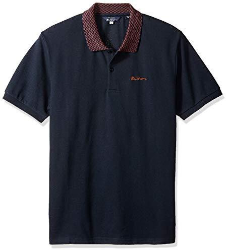 - Ben Sherman Men's Checkerboard Collar Polo, Midnight XXL