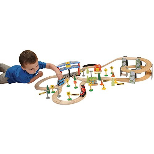 Engine Roundhouse Train Set - CP Toys Spiral Wooden Train Track Set / 73 Pc. Set
