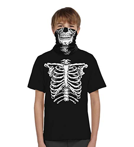 Glow in The Dark Skeleton T-Shirt Matching Face Skull Mask Bandana Halloween Costume Boys (Large, Black) ()