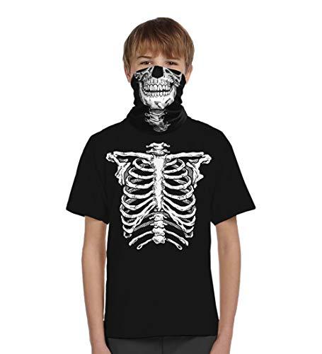 Skeleton Halloween Costume Face (Glow in The Dark Skeleton T-Shirt Matching Face Skull Mask Mandana Halloween Costume Boys (Medium,)
