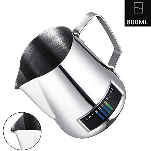 Milk Frothing Pitcher,Coffee4u Stainless Steel Creamer Frothing Pitcher With Integrated Thermometer 20 oz (600 ml), Chrome For Sale