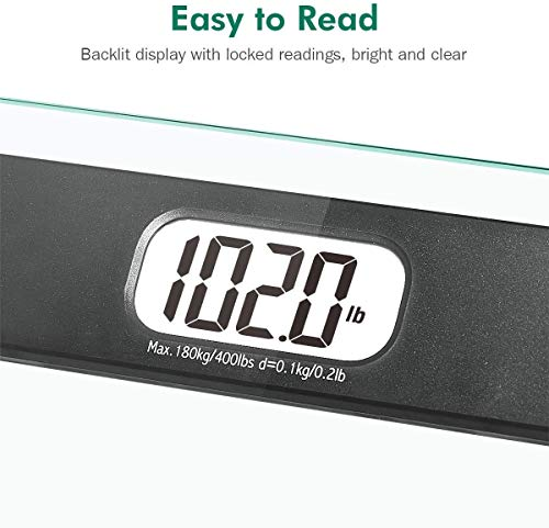 BEAUTURAL Digital Body Weight Bathroom Scale Precision Weighing Bath Scale, Small, Step-On Technology, High Capacity - 400 lb, Large Display, Batteries and Tape Measure Included
