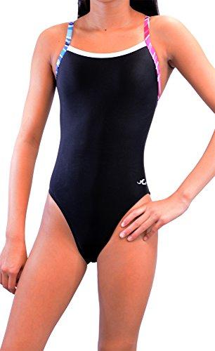 Ultrastar Girl's/Women's Color Block Thin Strap One Piece Swimsuit (UFN034)-Black Combo-32