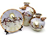 NEWQZ Chinese Vase, Decorative Ceramic Vases Set of 3, Home Decor Color: Grey