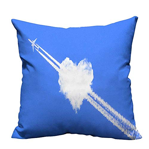YouXianHome Decorative Throw Pillow Case A Jet Plane Passing Through a Love Cloud Ideal Decoration(Double-Sided Printing) 21.5x21.5 inch