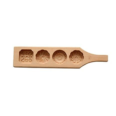 BESTONZON - Molde de Madera para Cupcakes, 4 Flores, moldes de jabón Hechos a