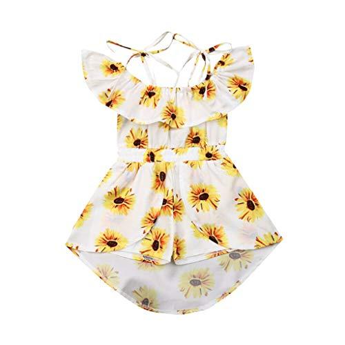 VEFSU Toddler Baby Girls Off Shoulder Sunflower Print