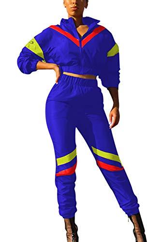 LOV ANNY Women Crewneck Long Sleeved Zipped Elastic Waist Workout Oufit Blue M ()